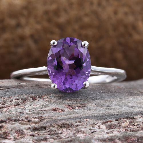 Amethyst 1.50 Carat Silver Solitaire Ring in Rose Gold Overlay