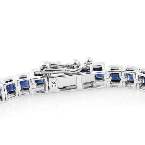 9K White Gold AA Kanchanaburi Blue Sapphire (Sqr) Tennis Bracelet (Size 7.5) 9.000 Ct.Gold Wt 10.02 Gms