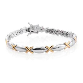 Platinum and Yellow Gold Overlay Sterling Silver Kiss Bracelet (Size 7.25), Silver wt. 17.15 Gms.