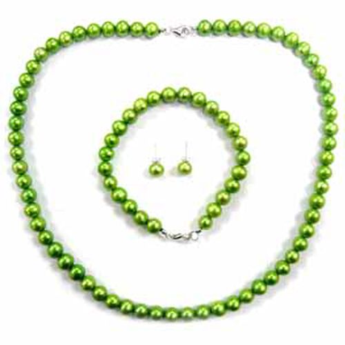 Fresh Water Green Pearl Sterling Silver Necklace, Bracelet and Earring Set 174.000 Ct.