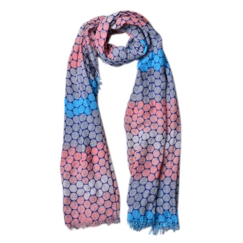 Designer Inspired-Blue, Pink and Multi Colour Honeycomb Pattern Scarf with Fringes (Size 180X90 Cm)