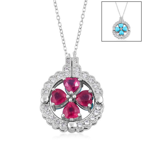 Designer Inspired-African Ruby (Hrt), Arizona Sleeping Beauty Turquoise and Natural White Cambodian Zircon Necklace (Size 18) in Rhodium Plated Sterling Silver 4.915 Ct. Silver wt. 5.5 Gms.