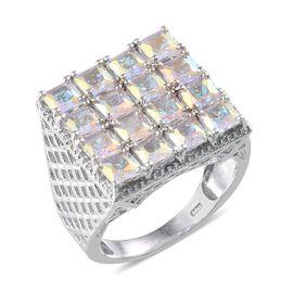 Mercury Mystic Topaz (Sqr) Ring in Platinum Overlay Sterling Silver 6.250 Ct.