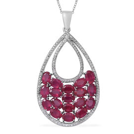 African Ruby (Ovl 11.30 Ct), Natural White Cambodian Zircon Drop Pendant with Chain in Rhodium Plated Sterling Silver 11.600 Ct. Silver wt 5.70 Gms.