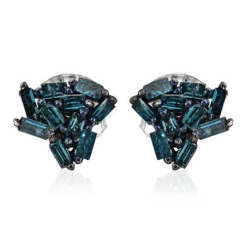Designer Inspired-Blue Diamond (Bgr) Stud Earrings (with Push Back) in Platinum Overlay Sterling Silver 0.255 Ct.