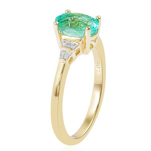 ILIANA 18K Yellow Gold 1.57 Ct AAAA Boyaca Colombian Emerald Ring with Diamond SI G-H