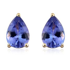 9K Yellow Gold 1.25 Ct AA Tanzanite Solitaire Stud Earrings (with Push Back)