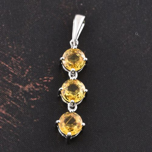 9K White Gold 1.25 Carat AAA Chanthaburi Yellow Sapphire Trilogy Pendant