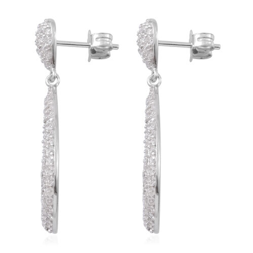 ELANZA AAA Simulated White Diamond (Rnd) Tear Drop Earrings (with Push Back) in Rhodium Plated Sterling Silver, Number of Simulated Diamonds 175