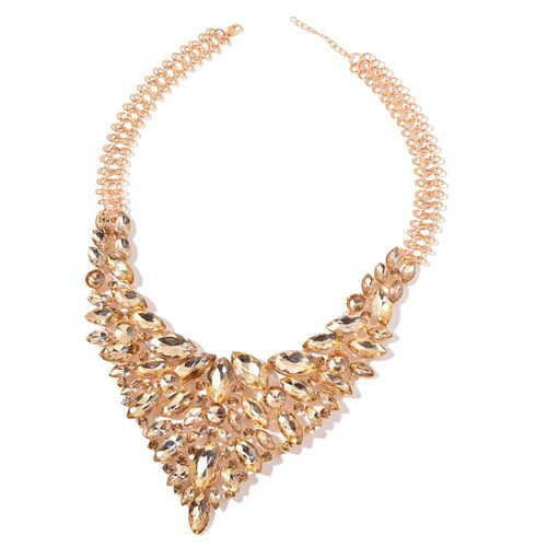 Simulated Champagne Diamond BIB Necklace (Size 23) in Yellow Gold Tone
