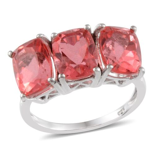 Padparadscha Colour Quartz (Cush) Trilogy Ring in Platinum Overlay Sterling Silver 7.750 Ct.