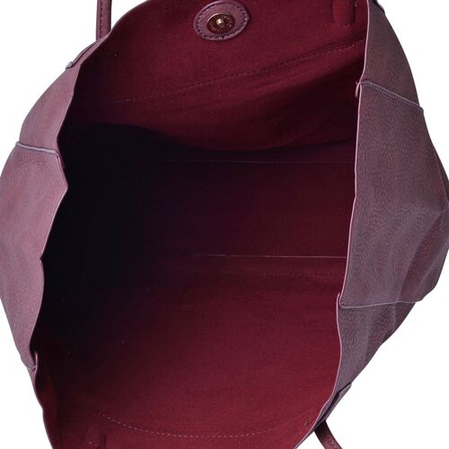 Light Garnet Colour Classic City Shopper Bag (Size 34x31x10.5 Cm)