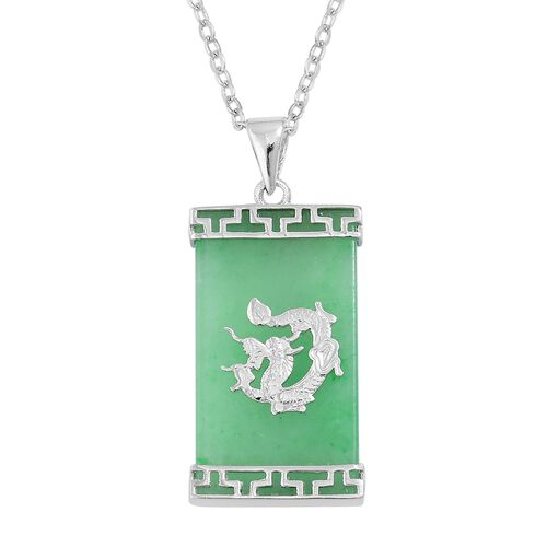 Green Jade (Bgt) Royal Chinese Dragon Pendant with Chain in Rhodium Plated Sterling Silver 13.750 Ct.