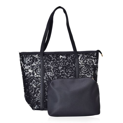 Limited Edition - Set of 2 - Classic Black Colour Lace Pattern Handbag (Size 44X30X13.5 Cm) and Pouch (Size 25X19X7 Cm)