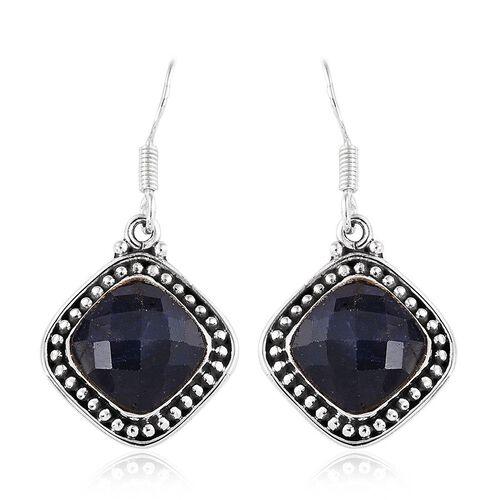 Enhanced Blue Sapphire (Cush) Hook Earrings in Sterling Silver 10.030 Ct.