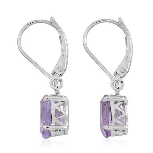Rose De France Amethyst (Ovl) Lever Back Earrings in Rhodium Plated Sterling Silver 3.000 Ct.