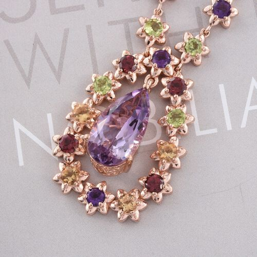 AAA Rose De France Amethyst (Pear 7.55 Ct), Rhodolite Garnet, Hebei Peridot, Amethyst and Citrine Necklace (Size 18) in Rose Gold Overlay Sterling Silver 14.500 Ct.