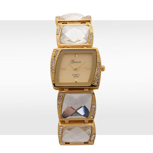 GENOA Japanese Movement Yellow Dial White Austrian Crystal Water Resistant Watch in Gold Tone with White Glass Strap