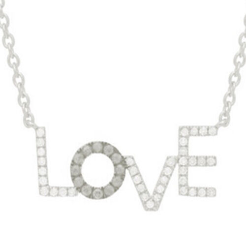 Diamond (Rnd) LOVE Necklace (Size 16) in Rhodium Plated Sterling Silver