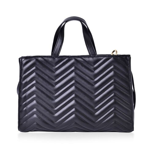 Black Colour ZigZag Pattern Tote Bag with Adjustable and Removable Shoulder Strap (Size 33X22X13 Cm)