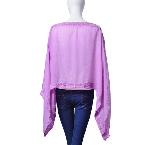 Purple Colour Poncho with Lace Pattern at the Border (Size 100x75 Cm)