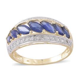 9K Y Gold AAA Kanchanaburi Blue Sapphire (Mrq), Natural Cambodian Zircon Ring 3.150 Ct.