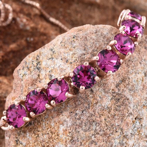 J Francis Crystal from Swarovski - Fuchsia Colour Crystal (Rnd) Adjustable Bracelet (Size 6.5 to 9) in Rose Gold Overlay Sterling Silver