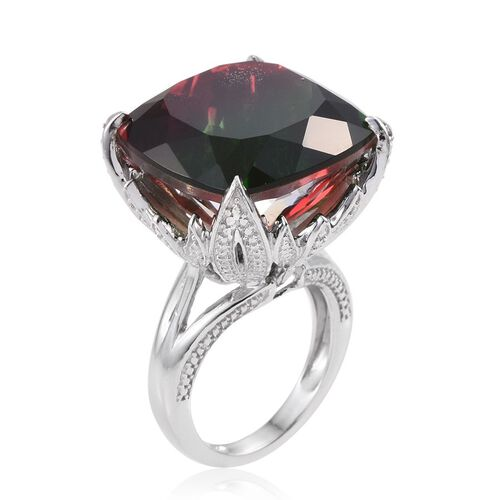 Bi-Color Tourmaline Quartz (Cush) Ring in Platinum Overlay Sterling Silver 39.000 Ct.