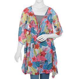 New For Season- Designer Inspired Off White, Pink and Multi Colour Flower and Leaves Pattern Kaftan (Size 80x65 Cm)