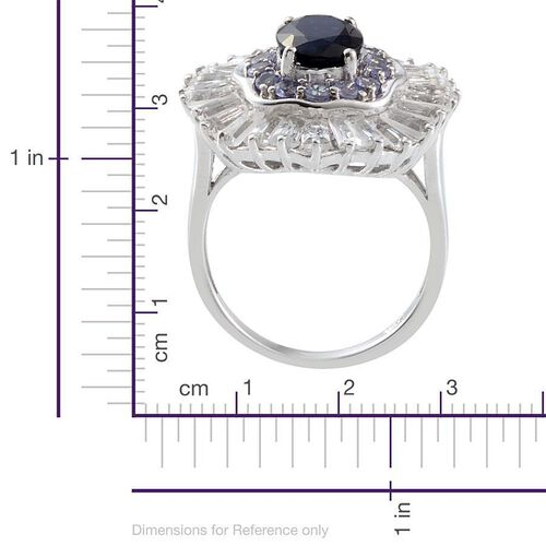 Kanchanaburi Blue Sapphire (Ovl 2.00 Ct), Tanzanite and White Topaz Ring in Platinum Overlay Sterling Silver 6.160 Ct.