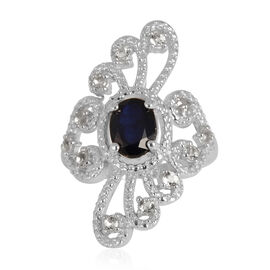Kanchanaburi Blue Sapphire (Ovl 1.68 Ct), White Topaz Ring in Rhodium Plated Sterling Silver 2.400 Ct.