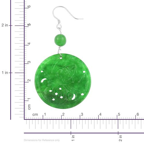 Green Jade Wealth Symbol Hook Earrings in Rhodium Plated Sterling Silver
