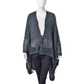 Black Colour Crochet Pattern Knitted Kimono (Size 130X58 Cm)