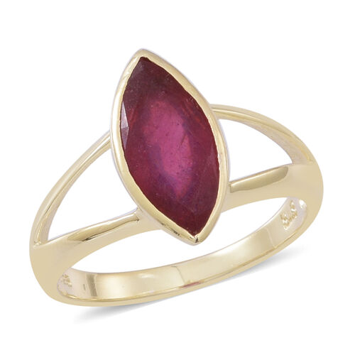African Ruby (Mrq) Solitaire Ring in 14K Gold Overlay Sterling Silver 4.000 Ct.
