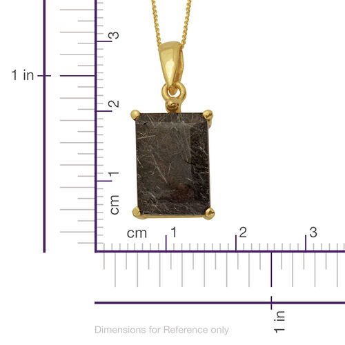 Black Rutile Quartz (Oct) Solitaire Pendant With Chain in 14K Gold Overlay Sterling Silver 5.950 Ct.
