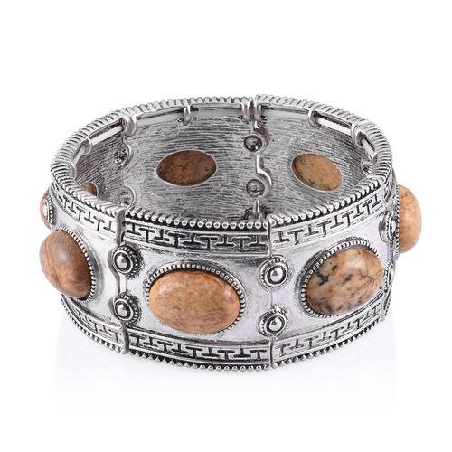 Balinese Style Picture Jasper Bracelet in Silver Tone (Size 7) 10.000 Ct.