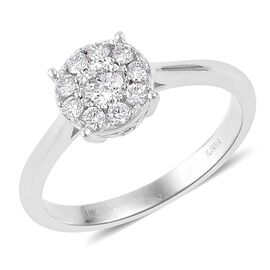 ILIANA 0.50 Carat Diamond IGI Certified (SI/G-H) Floral Ring in 18K White Gold