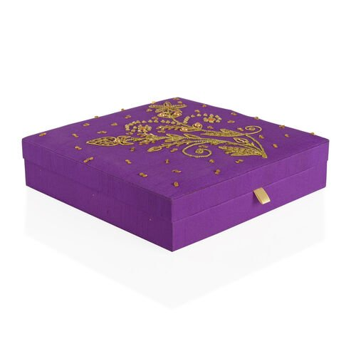 Flowers and Leaves Hand Embroidered and Beads Embellished Purple Colour 100 Slot Ring Box (Size 25.5X25.5X6 Cm)