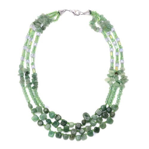 Green Aventurine, Simulated Peridot and Simulated White Diamond 3 Strand Necklace (Size 20) in Silver Tone 700.00 Ct.