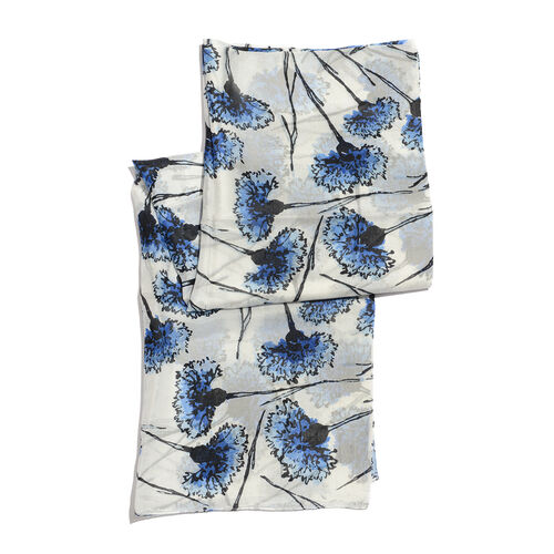 Close Out Deal- 100% Mulberry Silk Blue, Black and Off White Colour Hand Screen Carnation Floral Printed Scarf (Size 180x100 Cm)