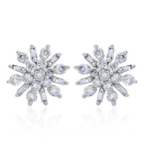 9K W Gold SGL Certified Diamond (Rnd) (I 3/G-H) Floral Stud Earrings (with Push Back) 0.500 Ct.