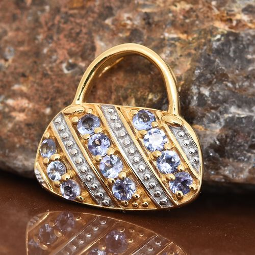 Designer Inspired-Tanzanite (Rnd) Handbag Design Pendant in 14K Gold Overlay Sterling Silver 1.000 Ct.