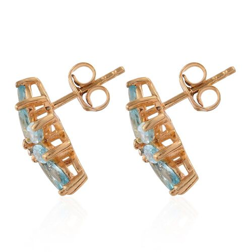 Paraiba Apatite (Mrq), Diamond Floral Stud Earrings (with Push Back) in 14K Gold Overlay Sterling Silver 3.000 Ct.