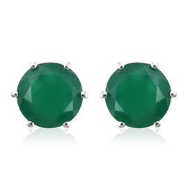 Verde Onyx (Rnd 10mm) Stud Earrings (with Push Back) in Sterling Silver 6.500 Ct.