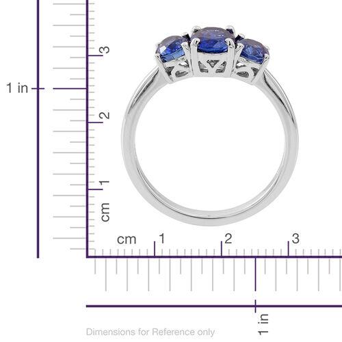 ILIANA 18K W Gold AAAA Ceylon Blue Sapphire (Ovl 1.00 Ct) 3 Stone Ring 2.000 Ct.