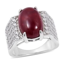 TJC Launch- Very Rare Size AAA African Ruby (Ovl 15x10mm, 11 Cts), Natural Cambodian Zircon Ring in Rhodium Overlay Sterling Silver 13.250 Ct.