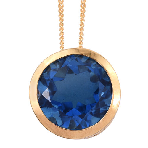 Ceylon Colour Quartz (Rnd) Solitaire Pendant With Chain in 14K Gold Overlay Sterling Silver 5.500 Ct. Silver wt. 3.13 Gms.