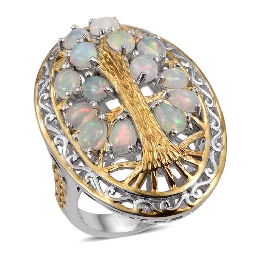 Ethiopian Opal (Pear) Tree Ring in Platinum and Yellow Gold Overlay Sterling Silver 2.750 Ct.Silver Wt 11.80 Gms