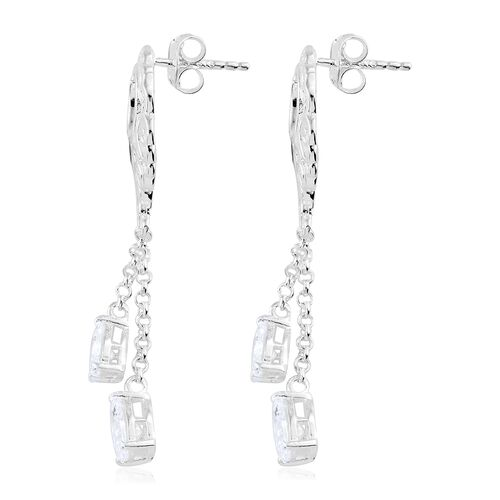 J Francis - Sterling Silver (Pear) Filigree Chandelier Earrings (with Push Back) Made with SWAROVSKI ZIRCONIA