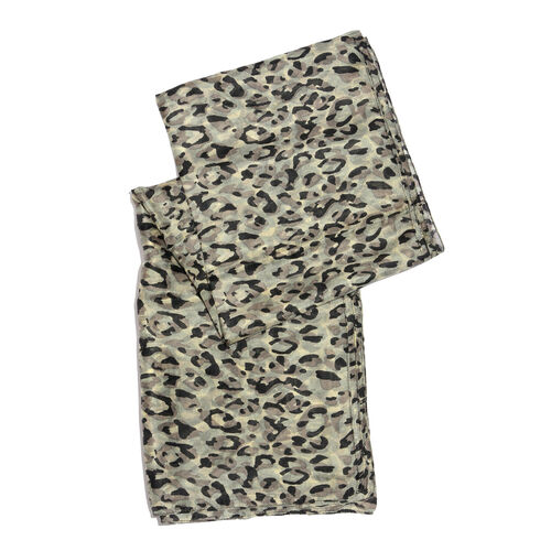 100% Mulberry Silk Black and Grey Colour Hand Screen Leopard Printed Scarf (Size 180X100 Cm)